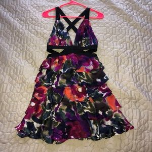 Floral ruffled cocktail dress Bebe XS